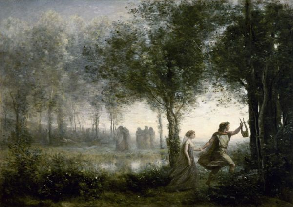 Corot, Jean-Baptiste-Camille: Orpheus Leading Eurydice from the Underworld (1861). Fine Art Print/Poster. Sizes: A4/A3/A2/A1 (0047)